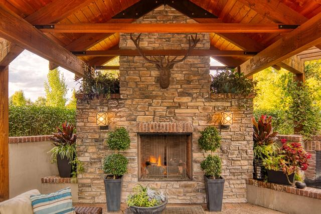 Custom Outdoor Fireplace With Covered Paver Patio