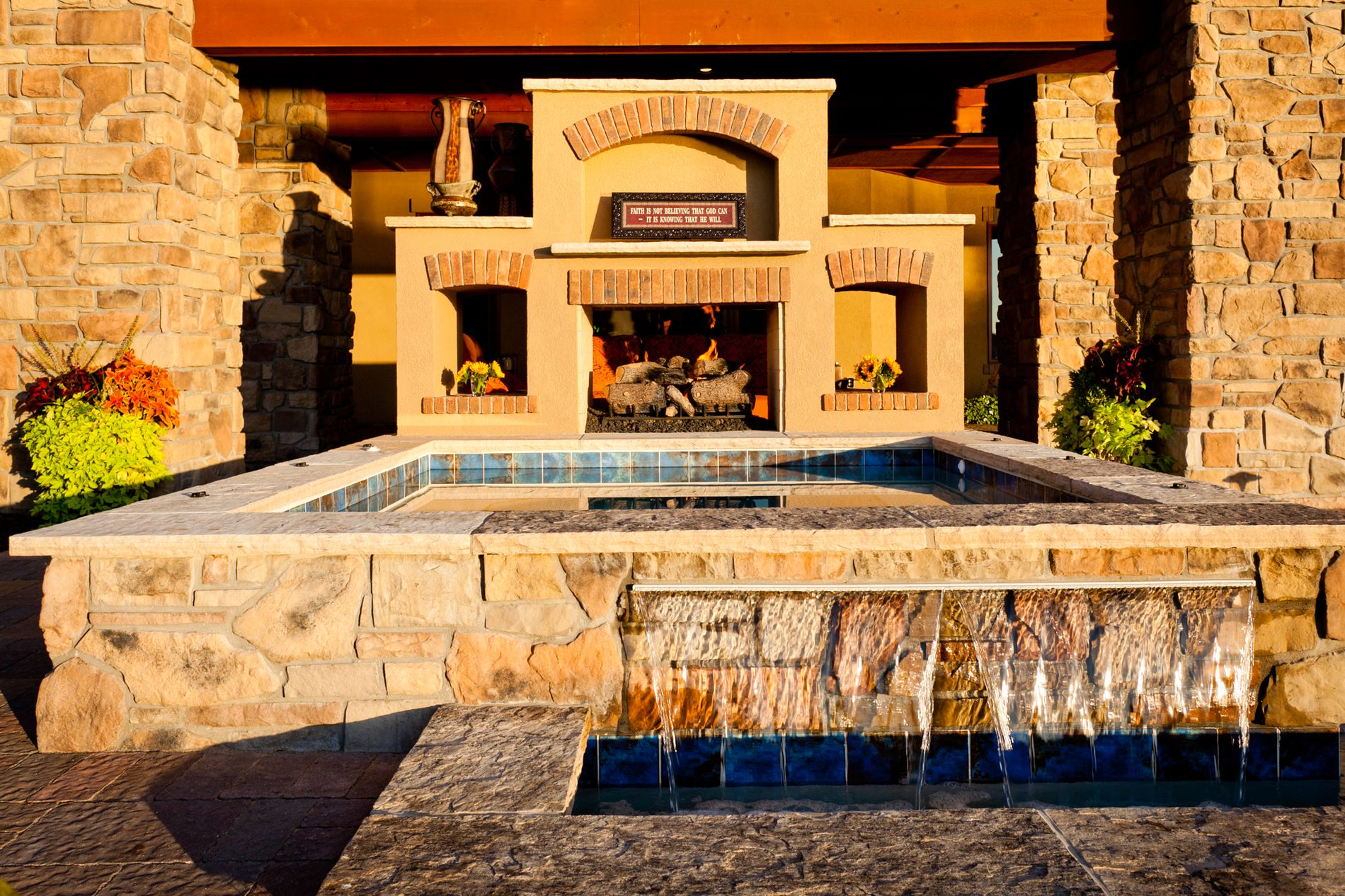 Spa with see through fireplace