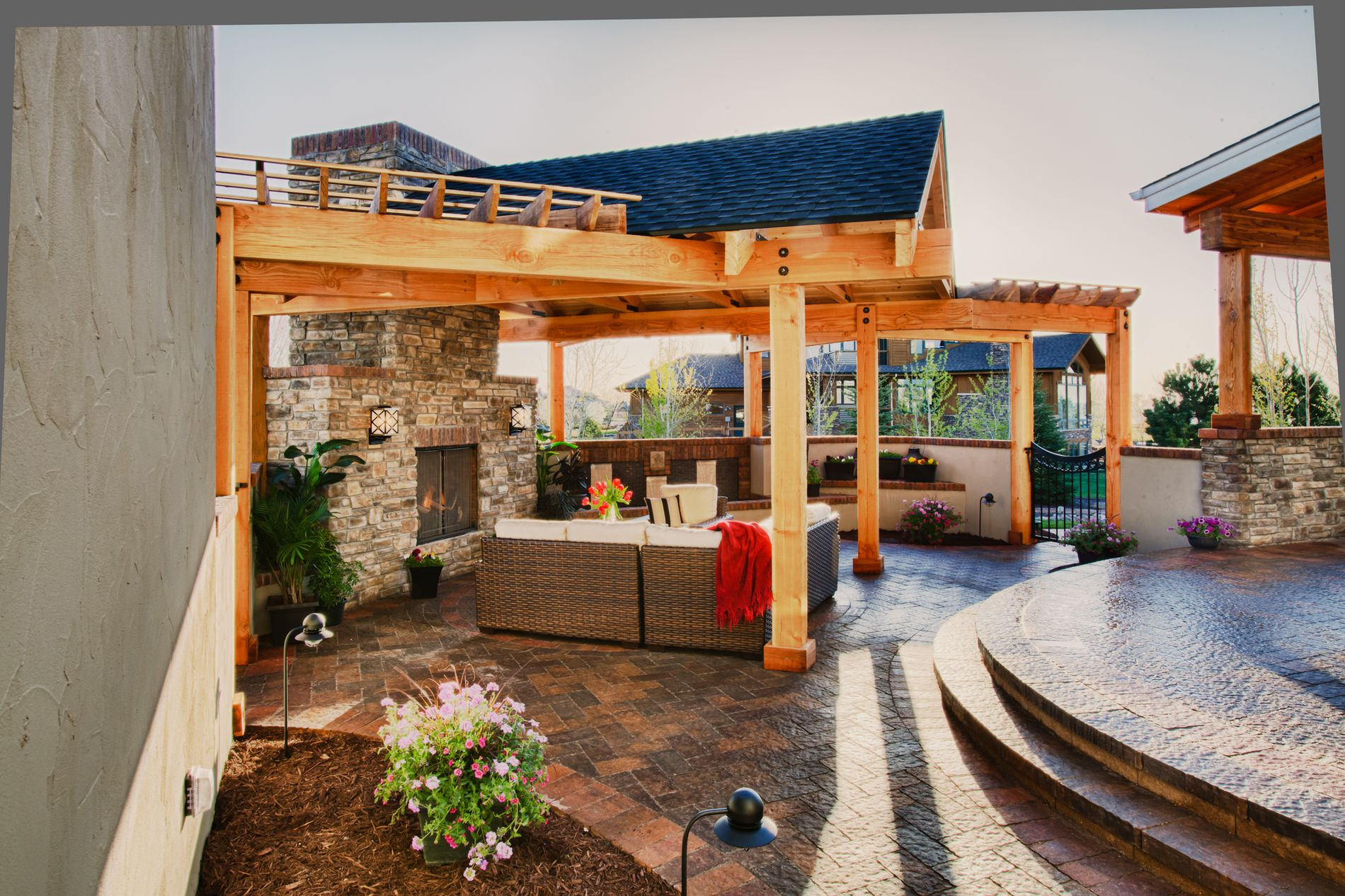 Outdoor Living Paver Patio with Covered Roof