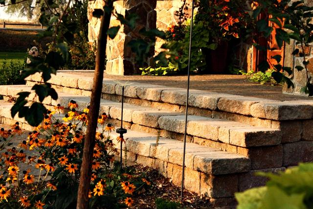 Paver Front Porch with Stairs