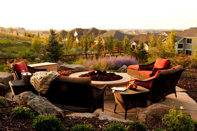 Paver fire pit patio on a hill