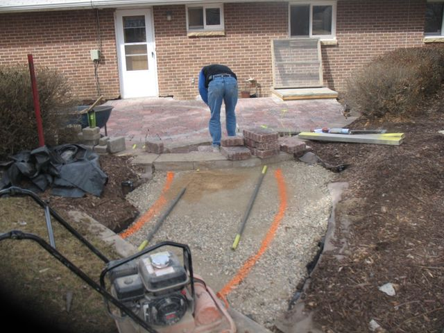 Paver back patio installation