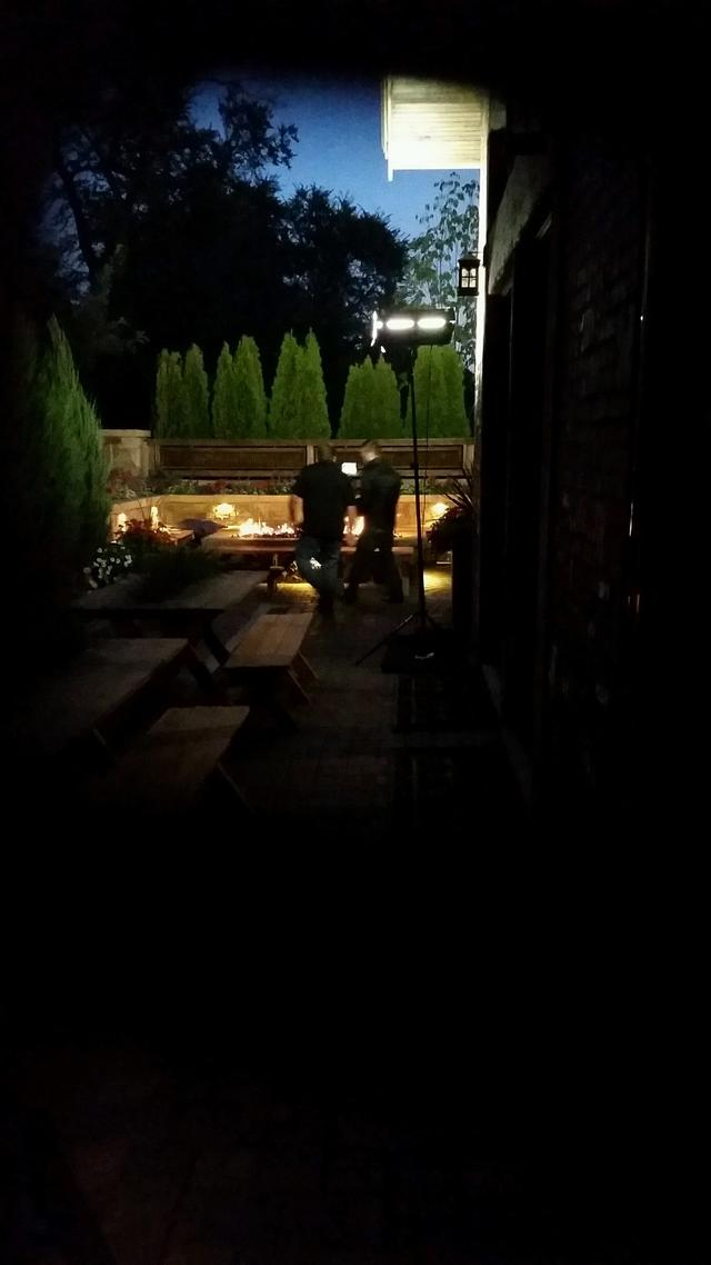 Nighttime photo shoot of landscape project