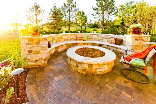 Custom Fire Pit and Seat Wall