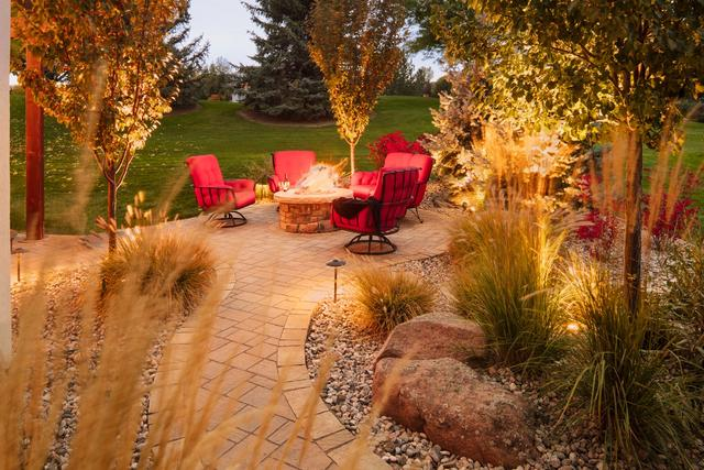 Fire Pit with Paver Patio and Landscape Lights