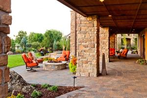 Outdoor living paver patio and firepit