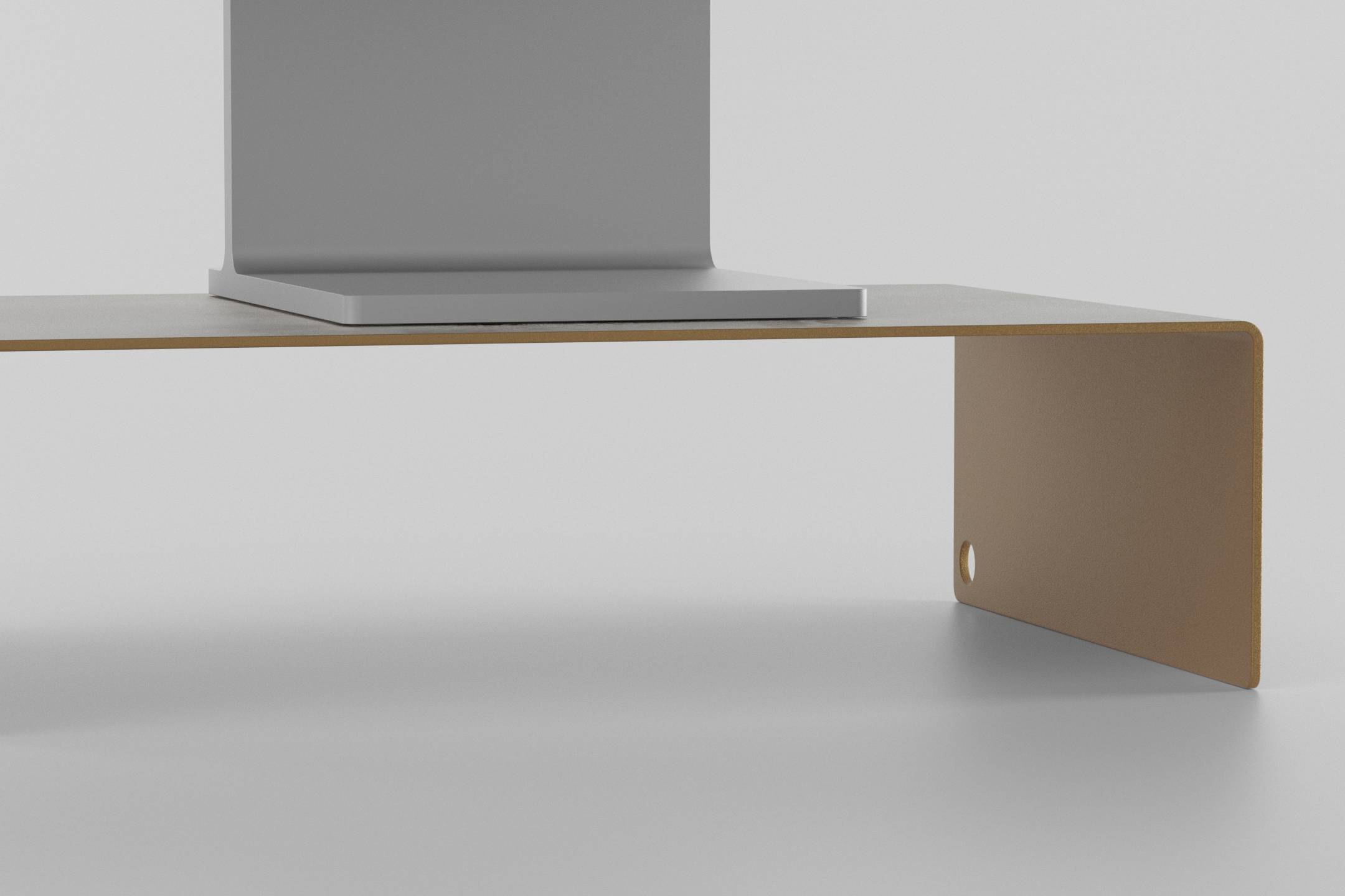 The Monitor Stand - brown beige with display on it