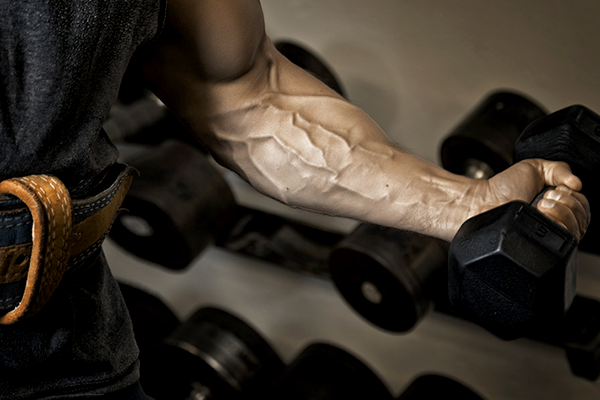 veiny arm holding dumbbell   how to get more vascular
