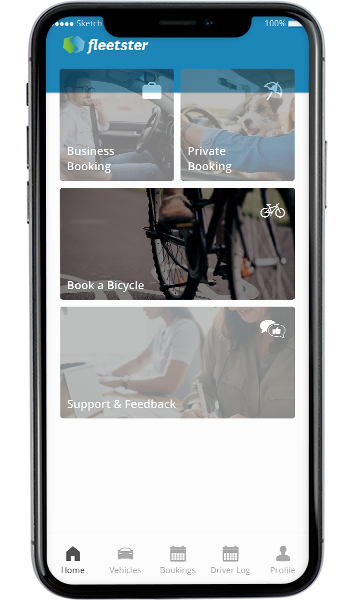 iPhone 11 max with the fleetster app and the bike sharing module highlighted