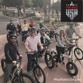 Group of people enjoying electric bike riding