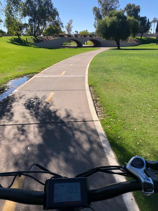 Ebike handlebars riding greenbelt