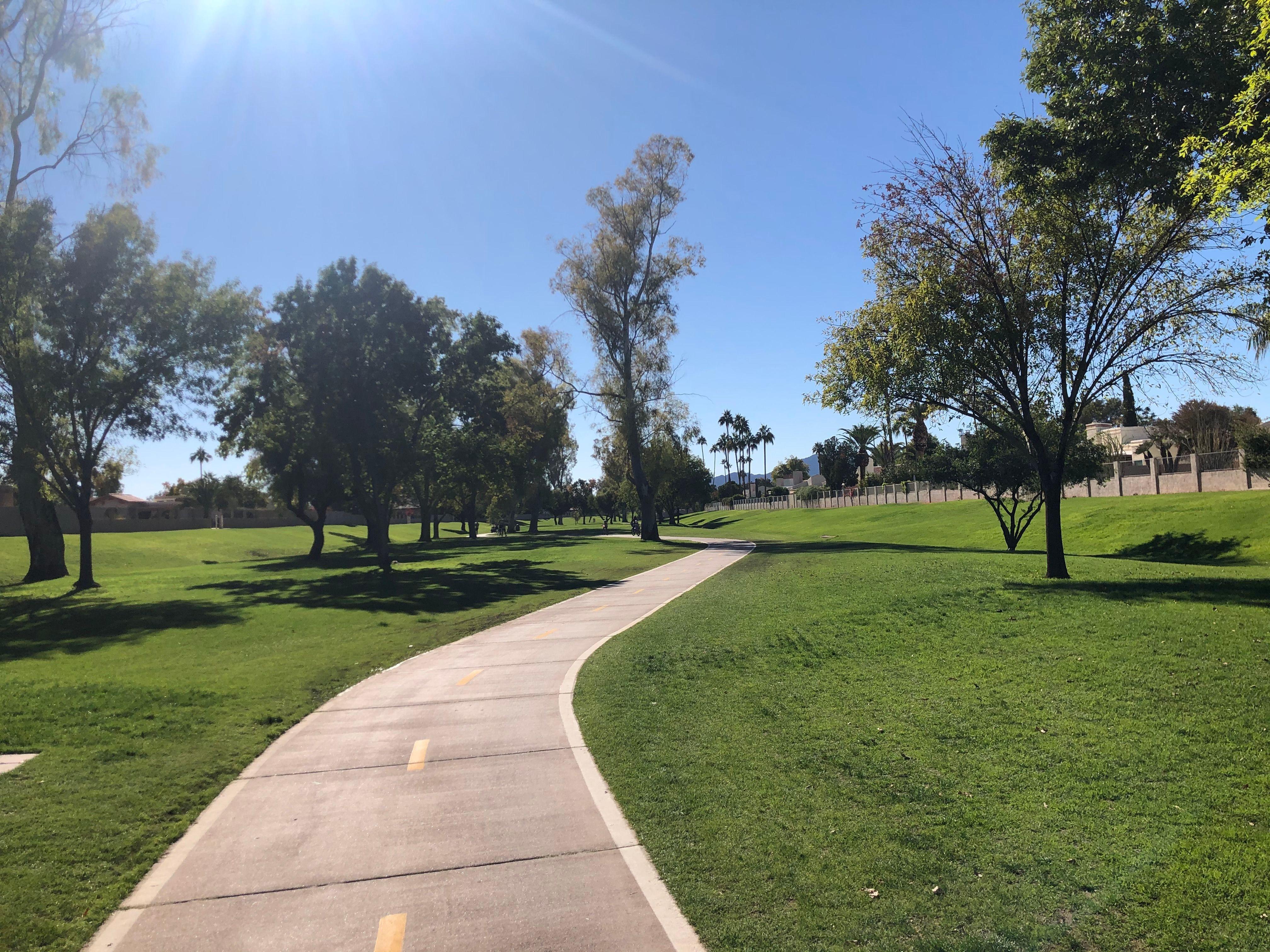 Greenbelt trail in sunlight
