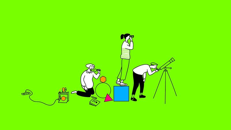 Illustration von drei Menschen mit Lupe und Fernglas