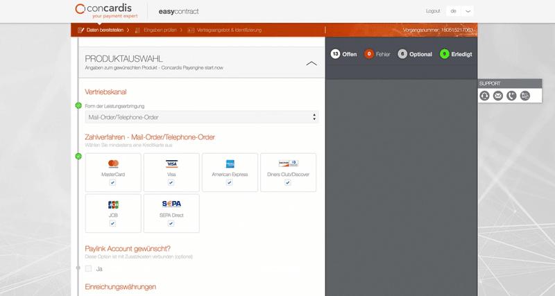 Screenshot des Tools easycontract