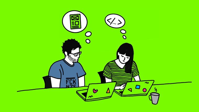 Illustration eines Entwicklers und einer Designerin in der Zusammenarbeit