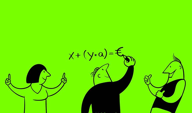 Illustration von 3 Personen. Zwei freuen sich während eine andere eine Formel an die Wand schreibt
