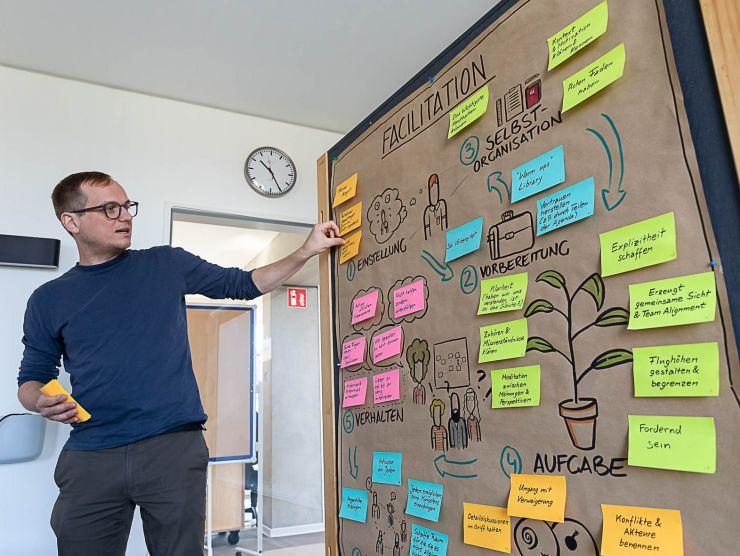Bild eines Facilitators vor einer Pinnwand