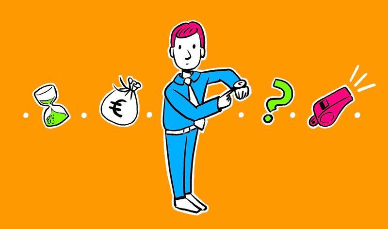 Illustration von einem Mann im blauen Anzug der auf seine Armbanduhr zeigt
