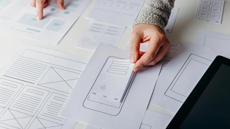 Bild mit Papier-Prototypen