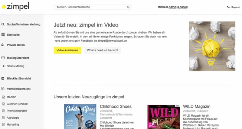 Screenshot des Tools Zimpel