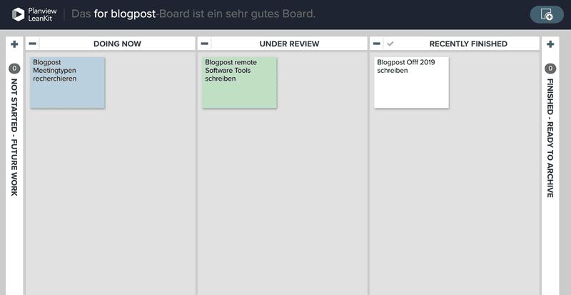 Screenshot eines Kanban-Boards aus Leankit