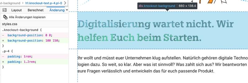 Screenshot einer auf CSS untersuchten Website