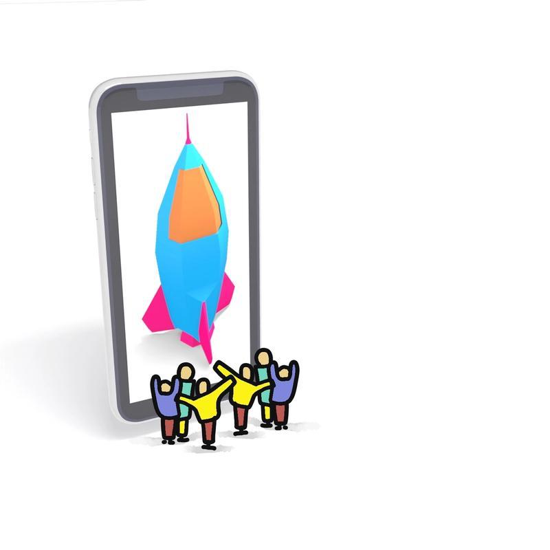 Viele kleine gezeichnete Menschen stehen vor einem überdimensionierten Smartphone und jubeln
