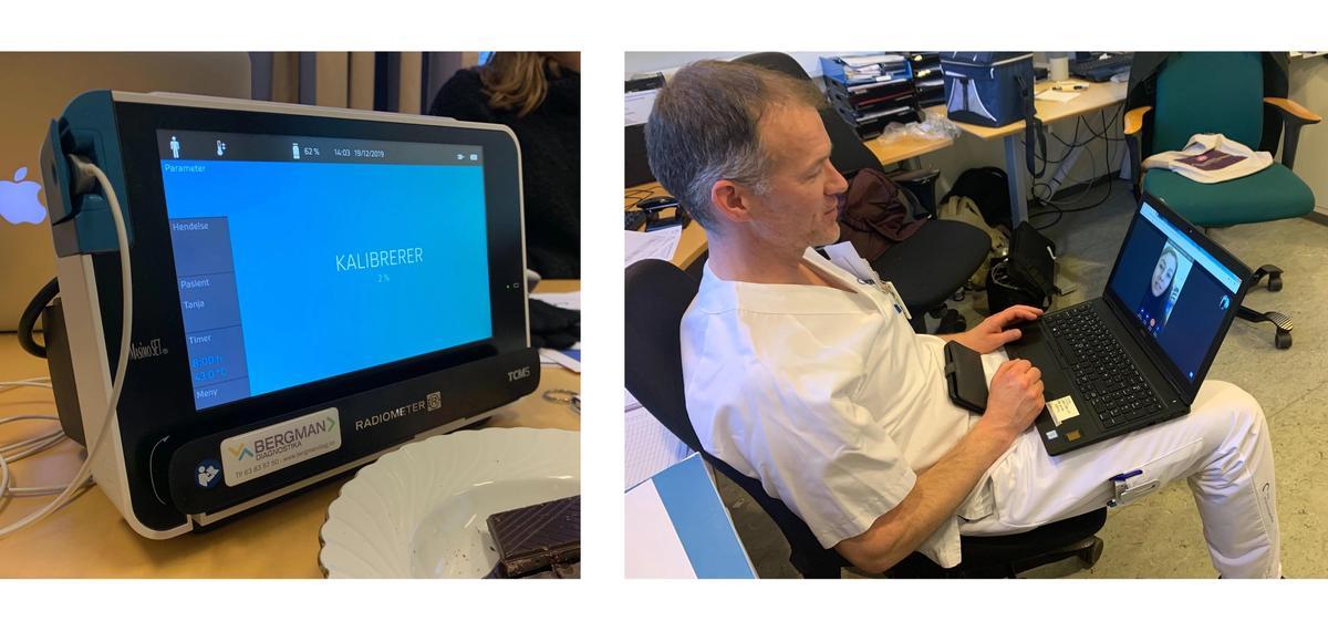 Til venstre vises en maskin som kan gjøre målinger mens pasienten sover. Til høyre ser vi en lege i hvite klær med en laptop på fanget, mens han har en videosamtale med en kvinne.