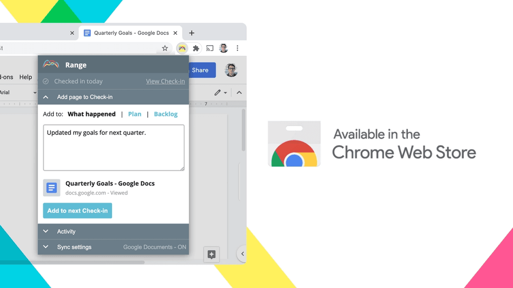 Product image of the new Range Chrome extension