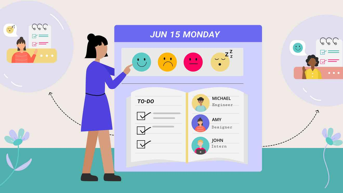 Check-ins include tasks, todos, calendar, and how you're doing