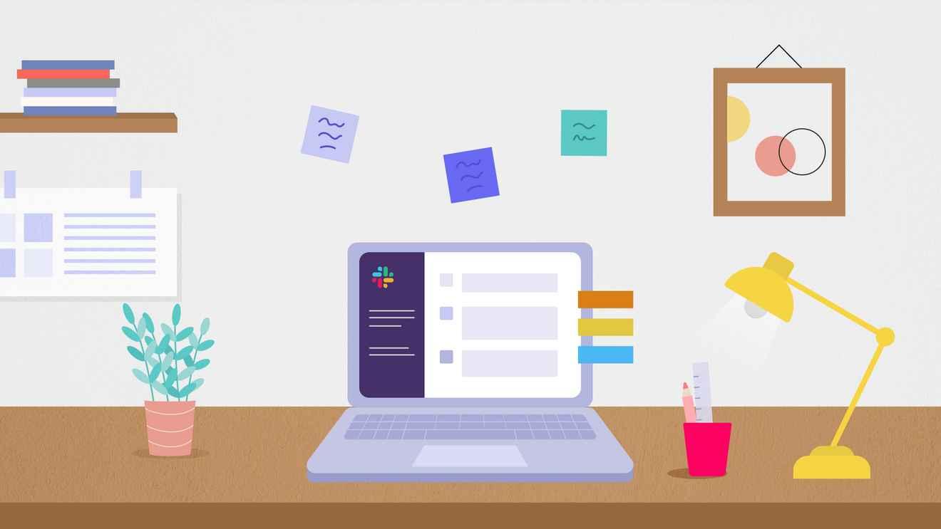 Illustration of home office setup