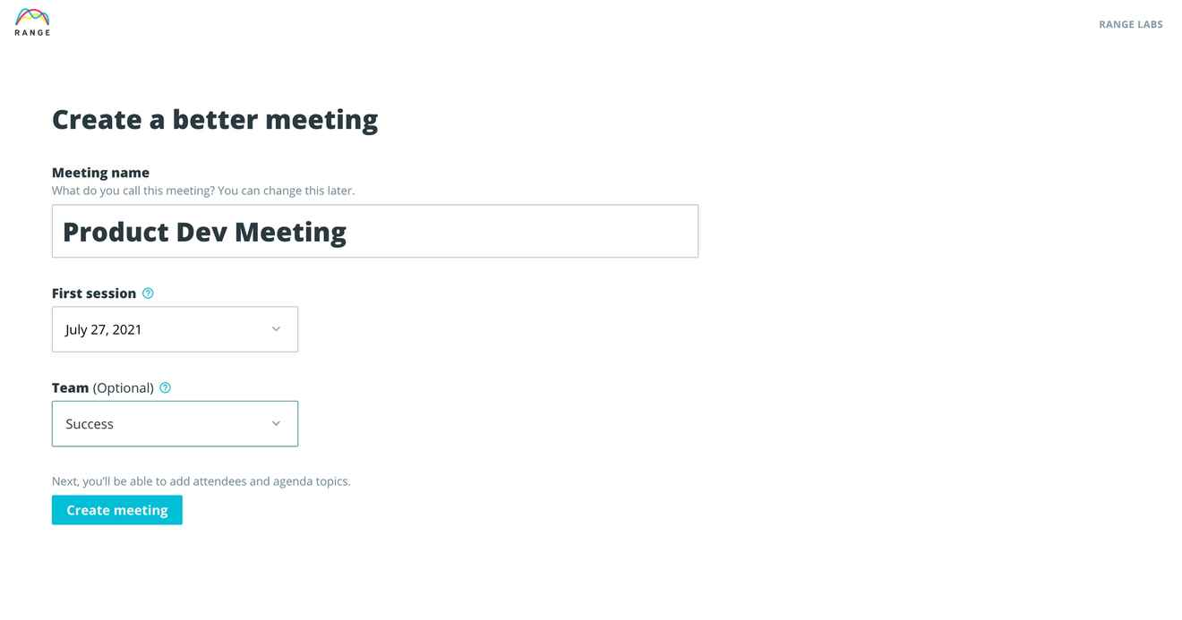 Creating a meeting in Range