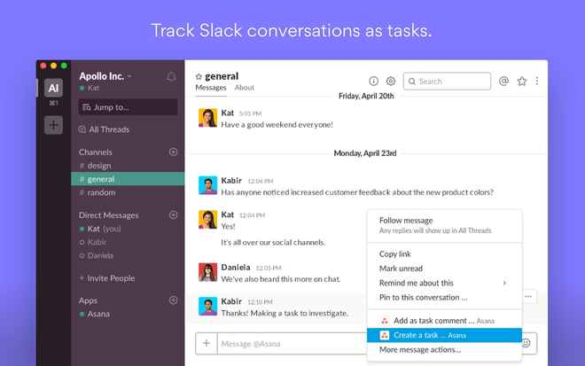 Collaboration tools for Slack – Asana