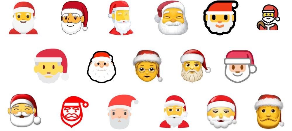 17 different versions of Santa emojis