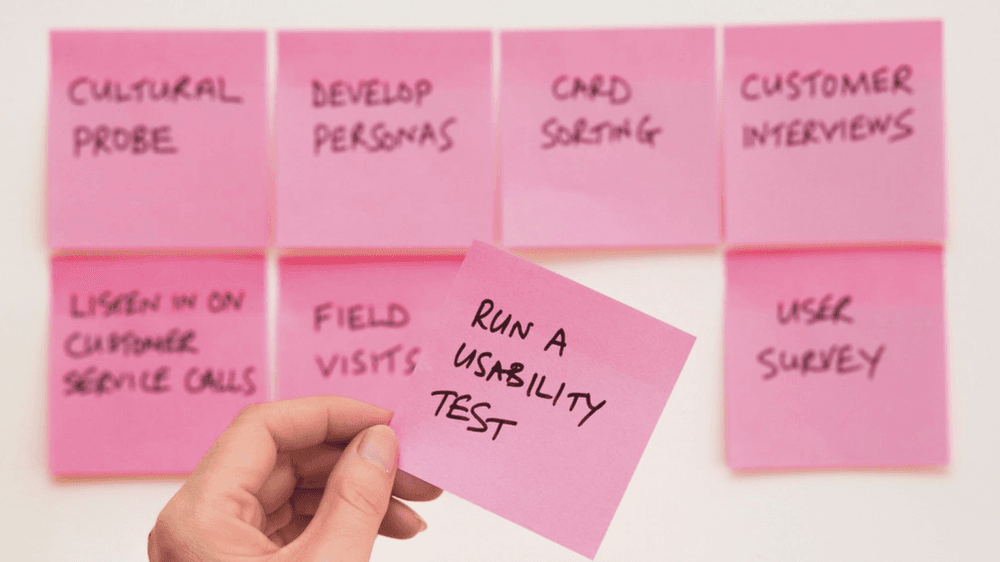 Sticky notes on wall for planning