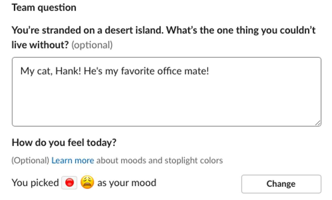 Daily team question and mood sharing using Range for Slack