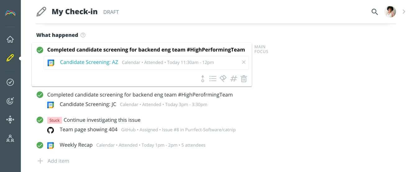 Using hashtags to attach tasks to objectives in Range