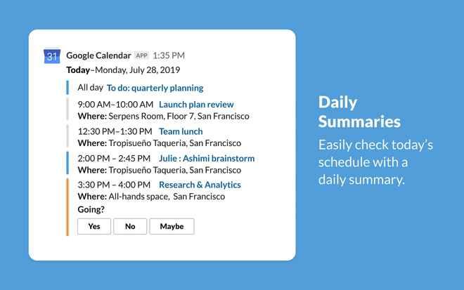 Collaboration tools for Slack – Google Calendar