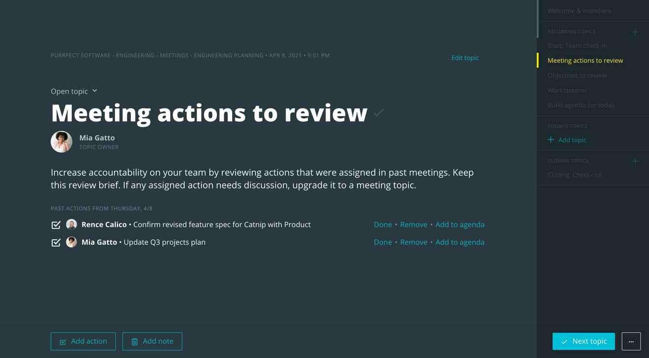 Reviewing action items in Meetings
