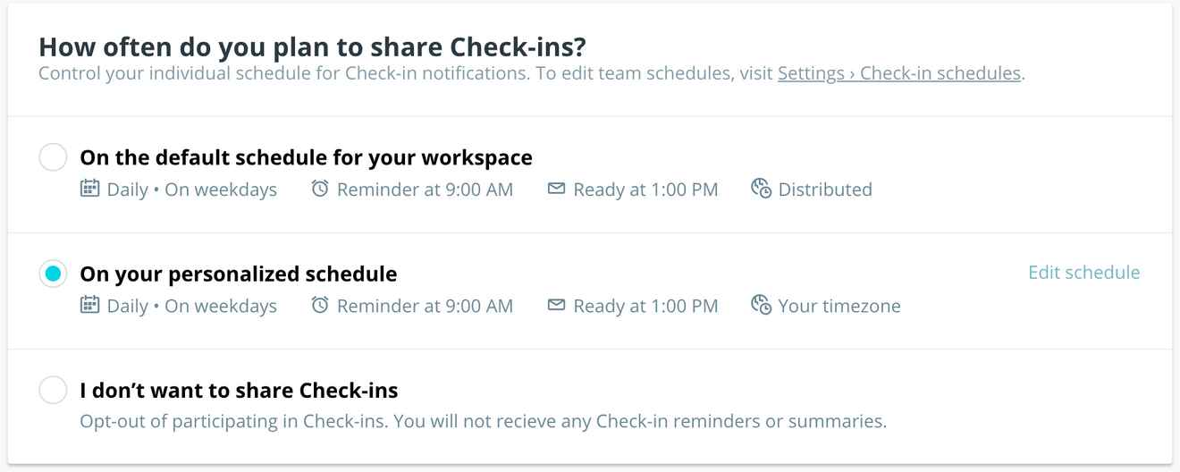 Screenshot of personal Check-ins scheduling interface