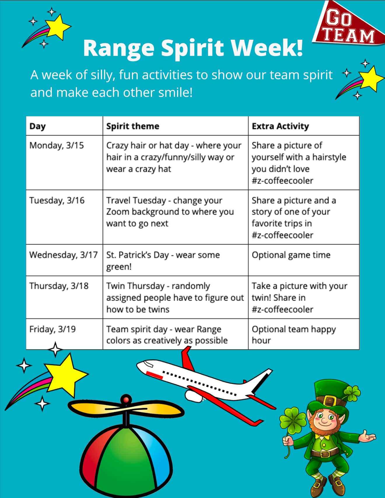 Spirit Week flier with schedule of events