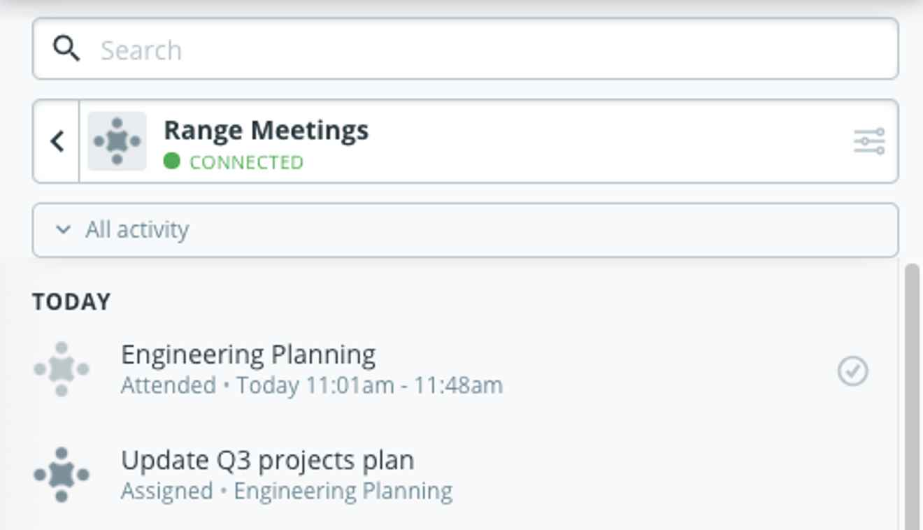 Check-in suggestions from Meetings in Range
