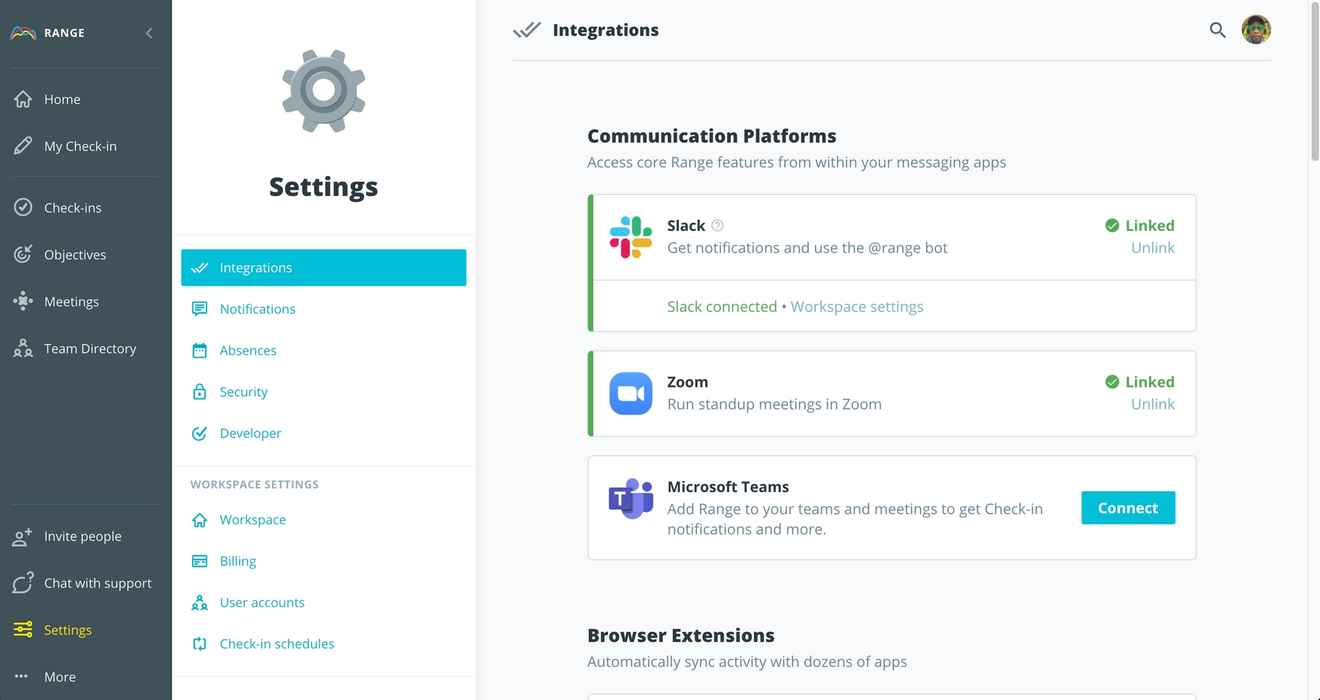 Integrations page in the Range app