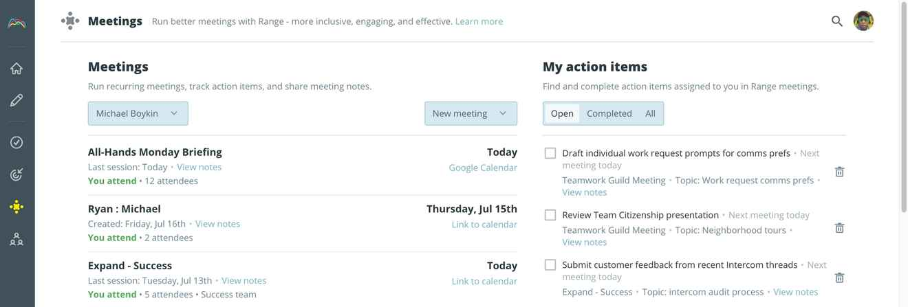 Viewing your meeting action items