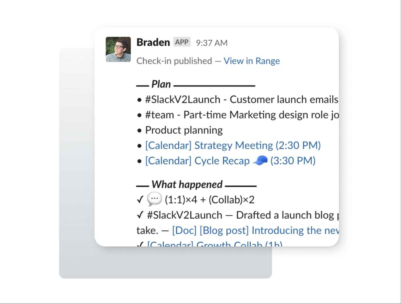 Image of a Range Check-in shared in Slack