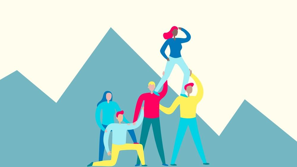 Illustration of a team working together with trust