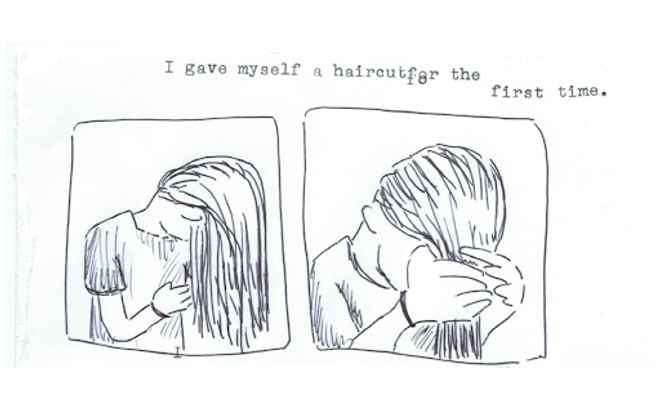 Hand drawn picture of someone giving themselves a haircut