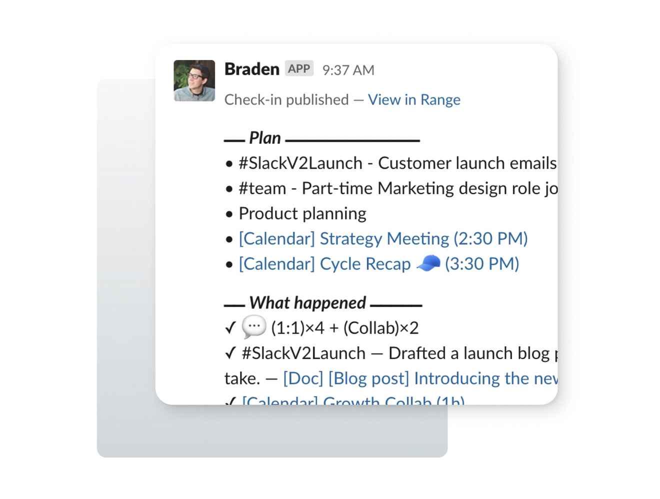 Message formatting in a Slack UI design showing headlines