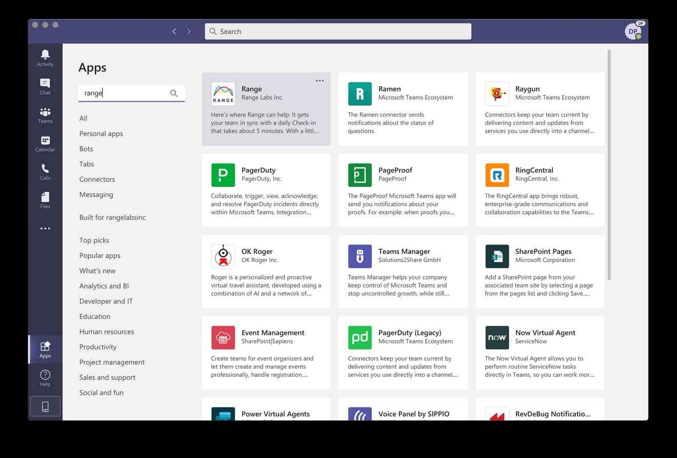Screenshot of the Range app in Microsoft Teams app search