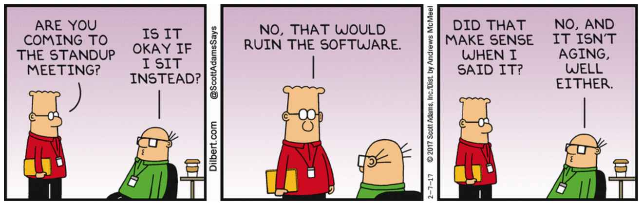 Dilbert cartoon of a standup meeting